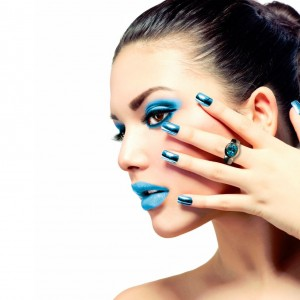 Beauty Makeup. Purple Make-up and Colorful Bright Nails